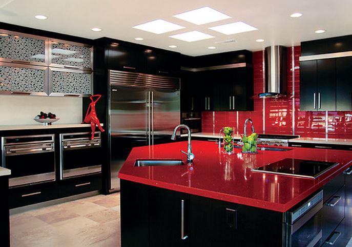 Decoration cuisine moderne rouge et blanc - Cuisine moderne rouge et blanc ...