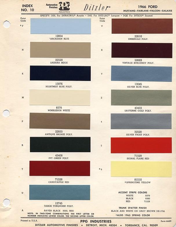 couleurs ford 1964 1973. Black Bedroom Furniture Sets. Home Design Ideas