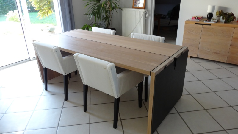 table salle a manger r alisation table ch ne brut acier valchromat. Black Bedroom Furniture Sets. Home Design Ideas